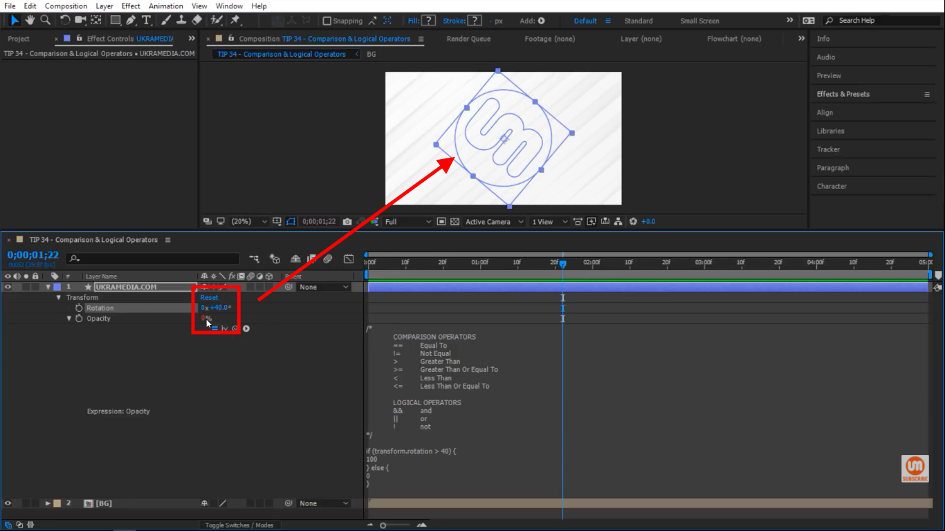 Rotation at 40 in After Effects