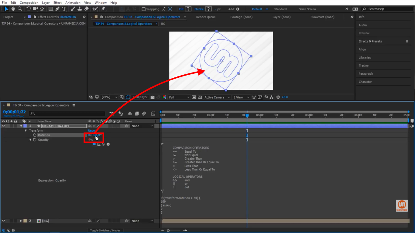 Rotation below 40 in After Effects
