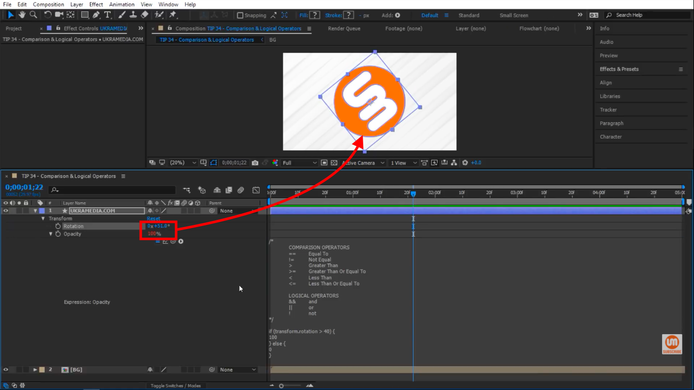 Rotation is greater than 40 in After Effects