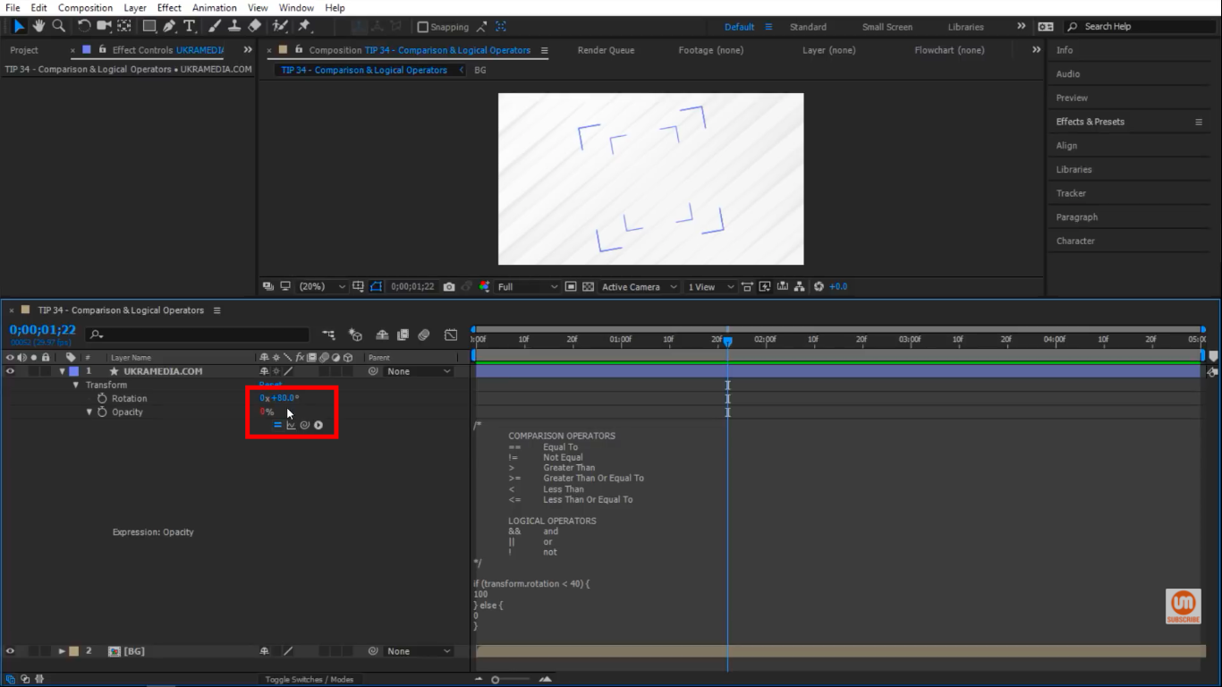 Rotation is not 40 in After Effects
