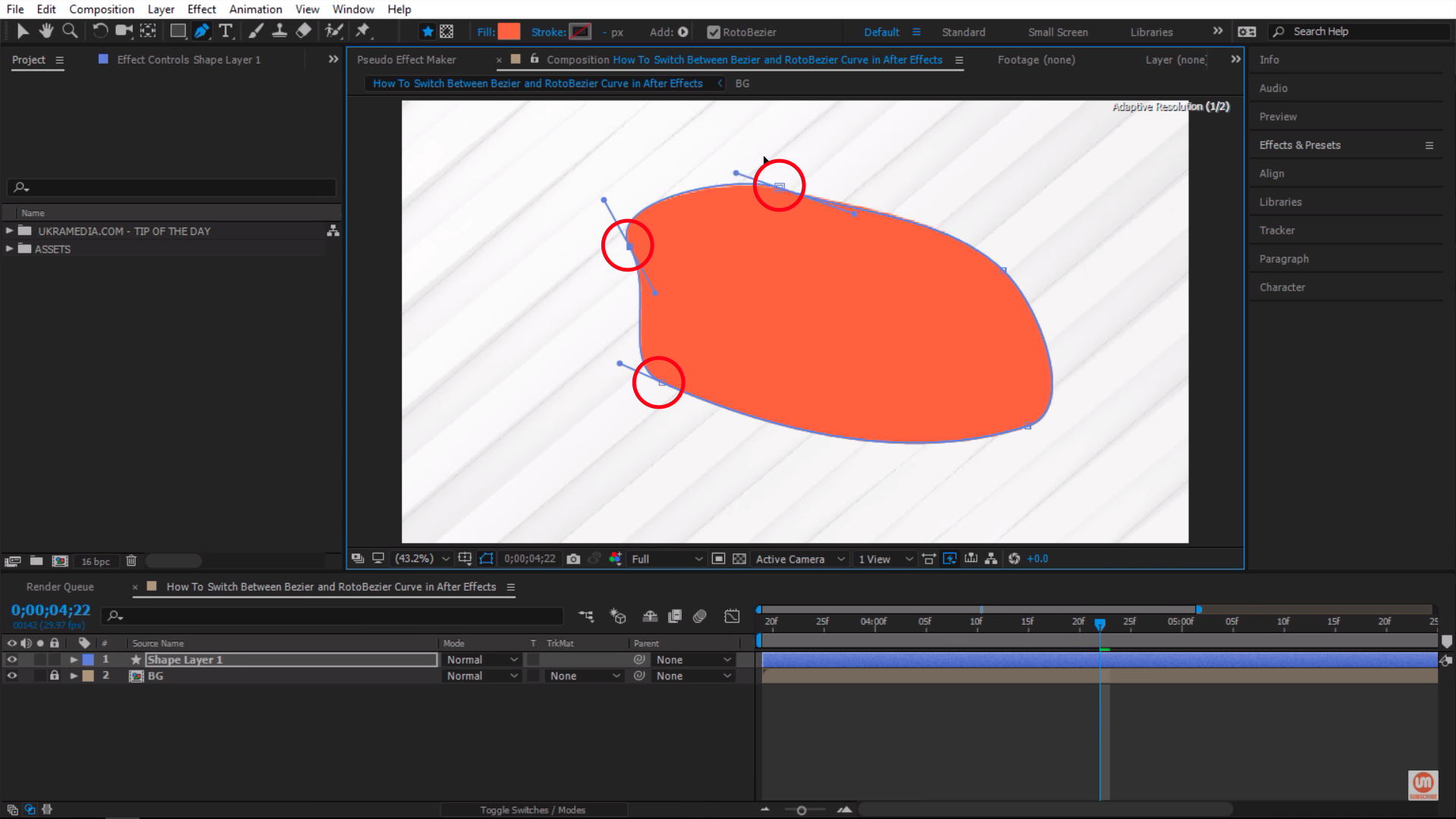 RotoBezier Handles in After Effects
