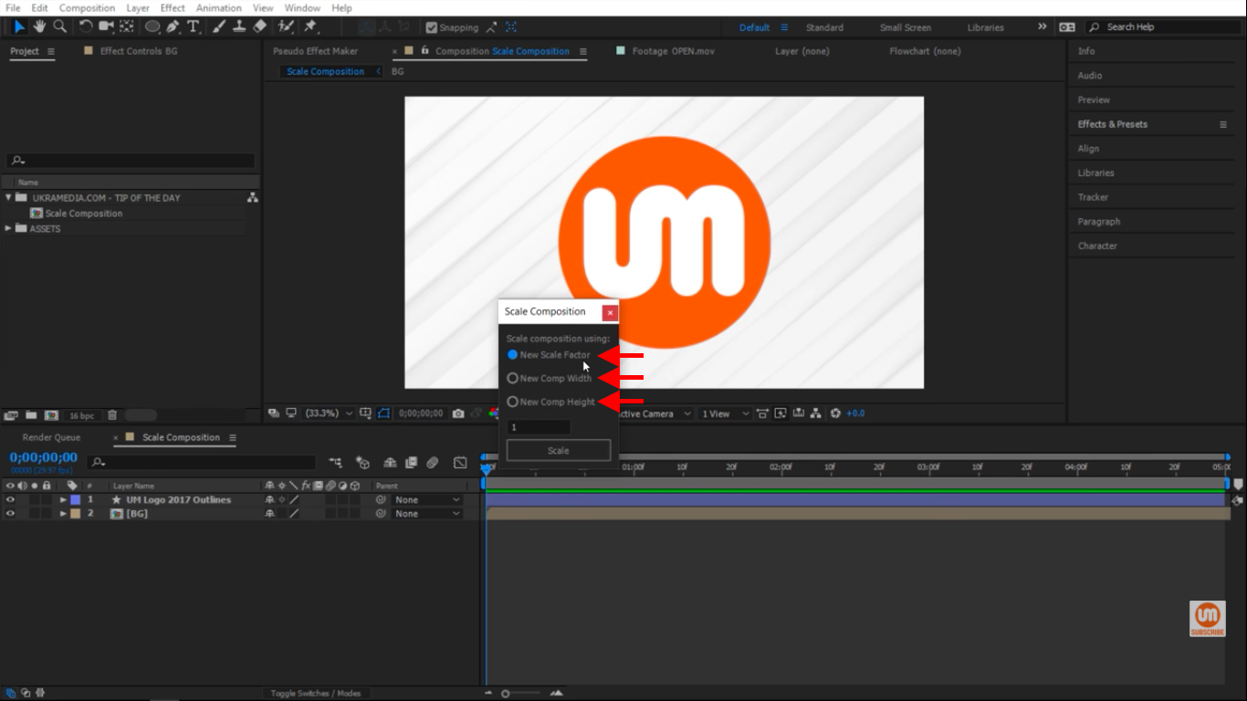 Scale by a factor or by width or by height with scale composition in After Effects