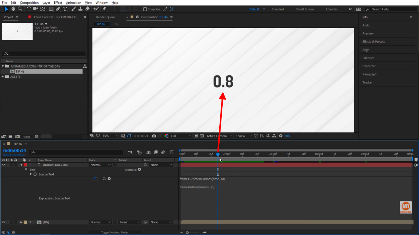 Seeing current time in After Effects