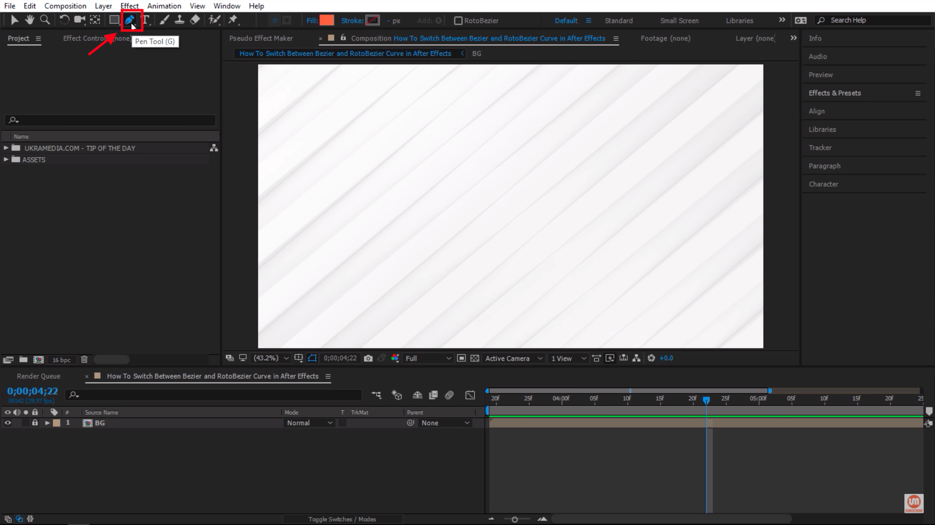 Select Pen Tool in Adobe After Effects