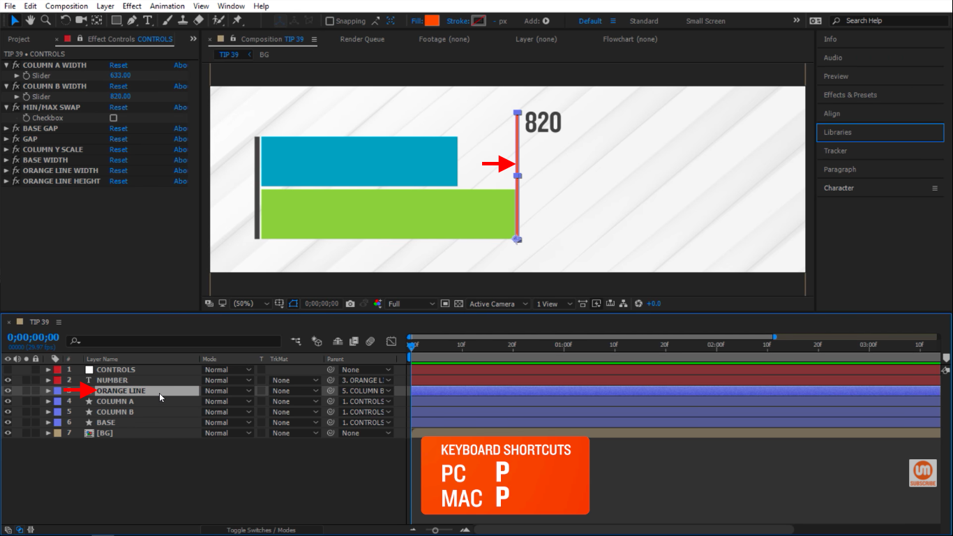 Select the orange line in After Effects