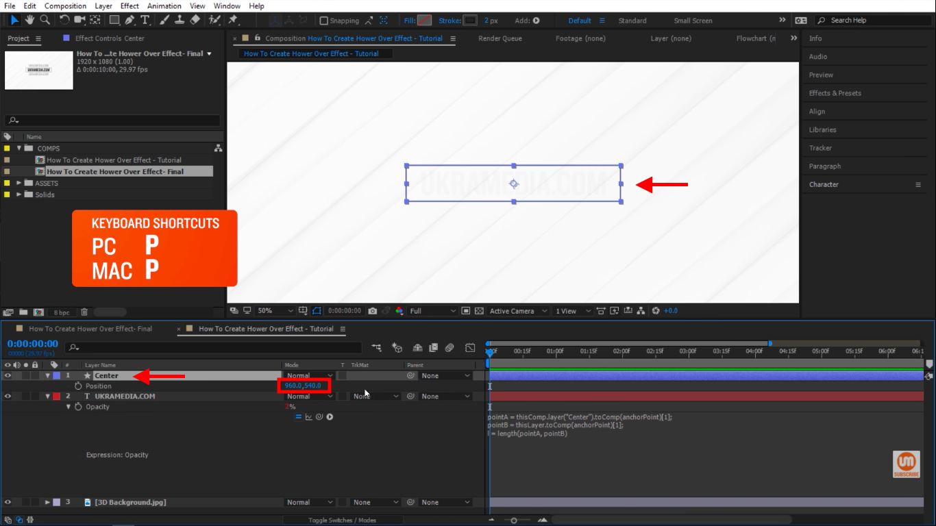 Select the shape layer in After Effects