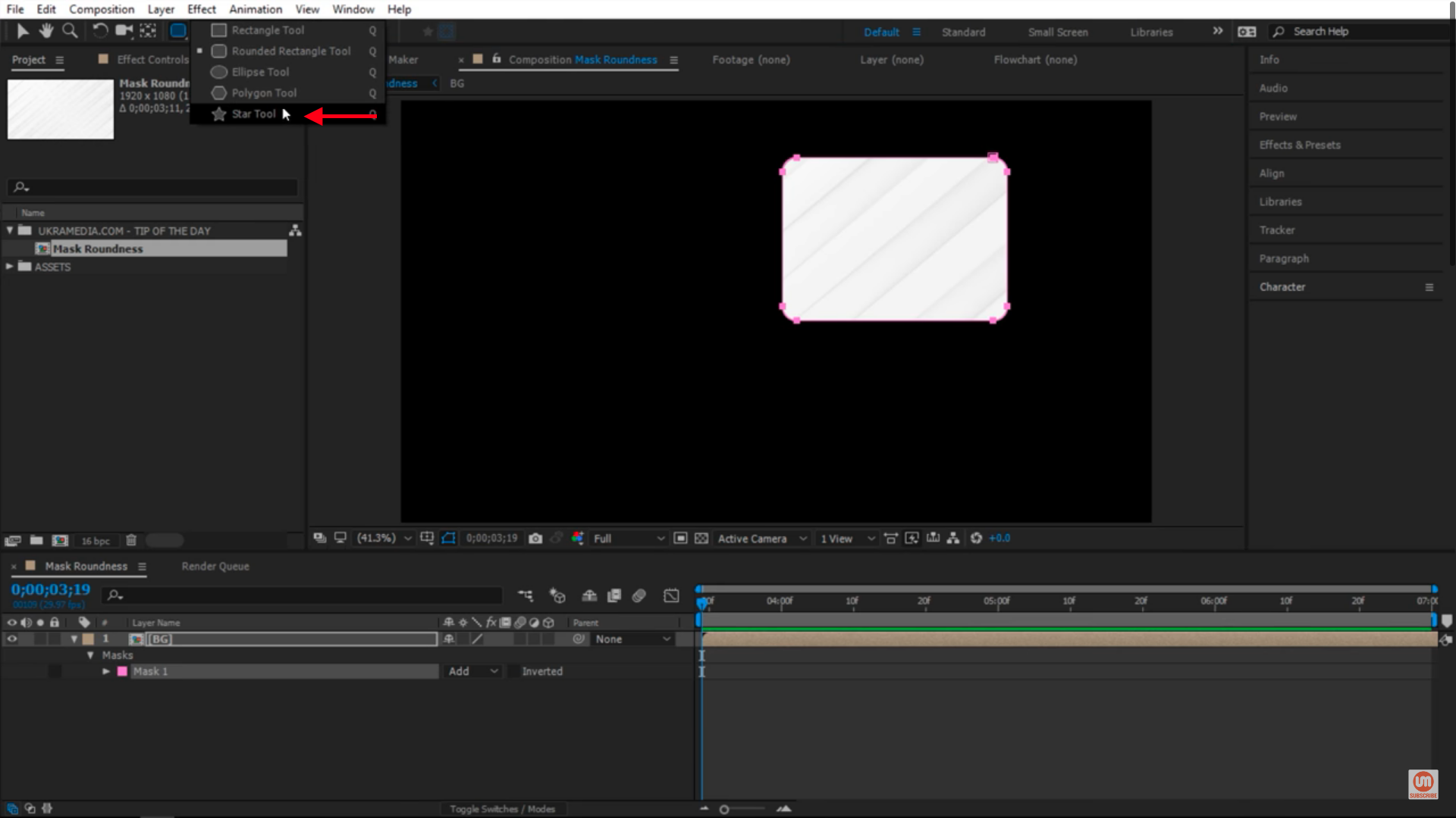 Select the star tool in After Effects
