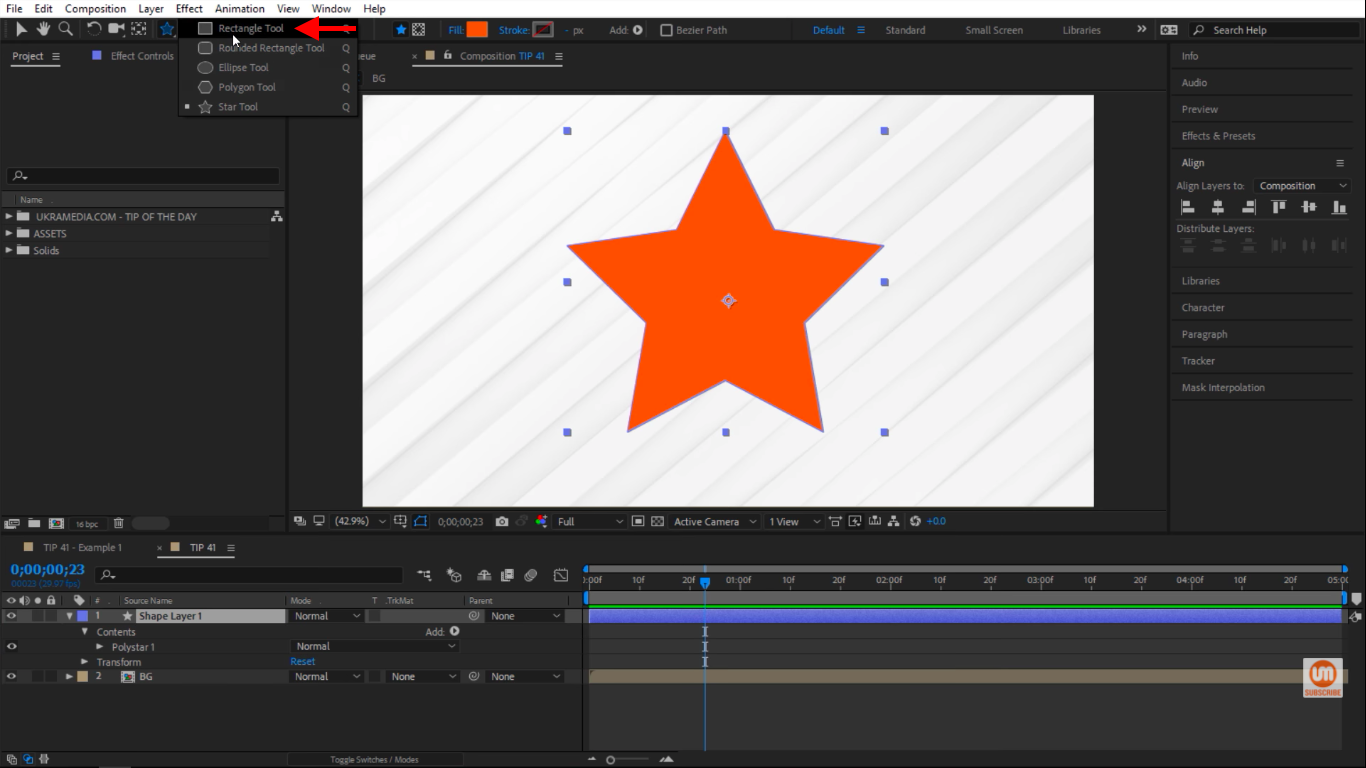 Selecting Rectangle Tool in After Effects