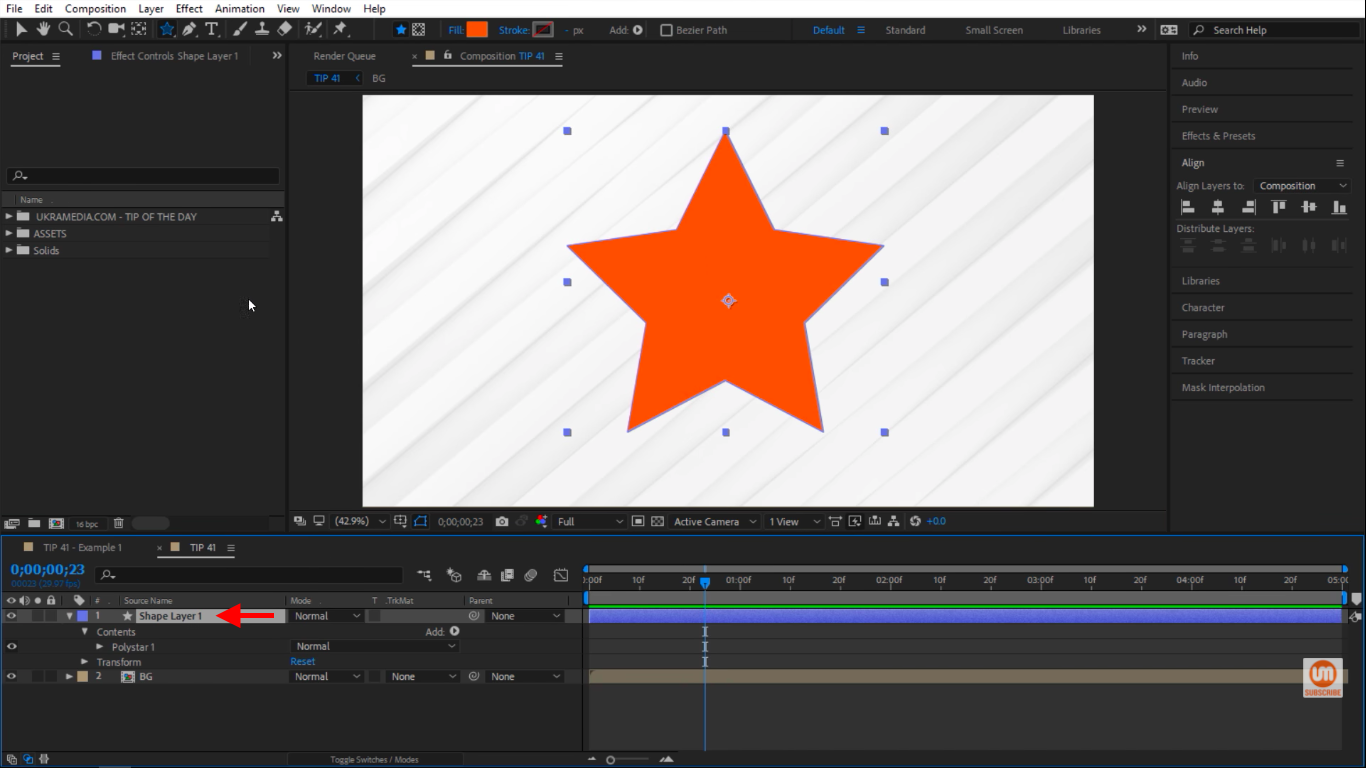 Selecting Shape Layer in After Effects