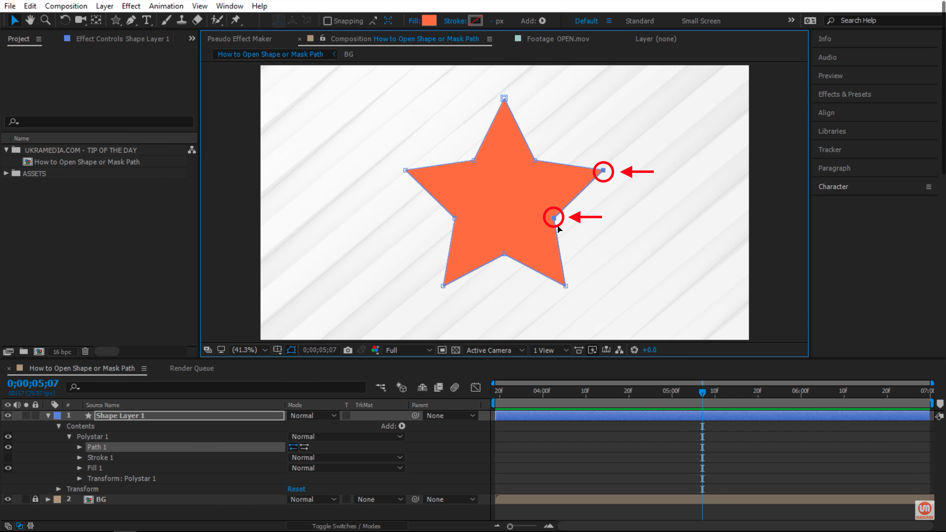 Selecting Vertices in After Effects