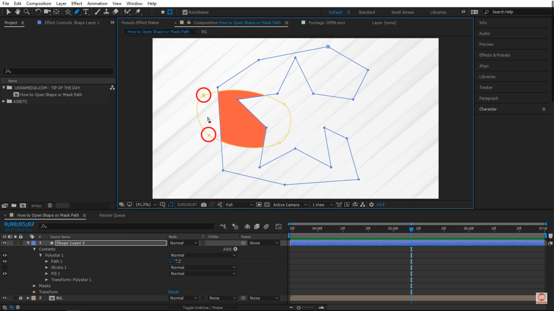 Selecting both vertices in After Effects