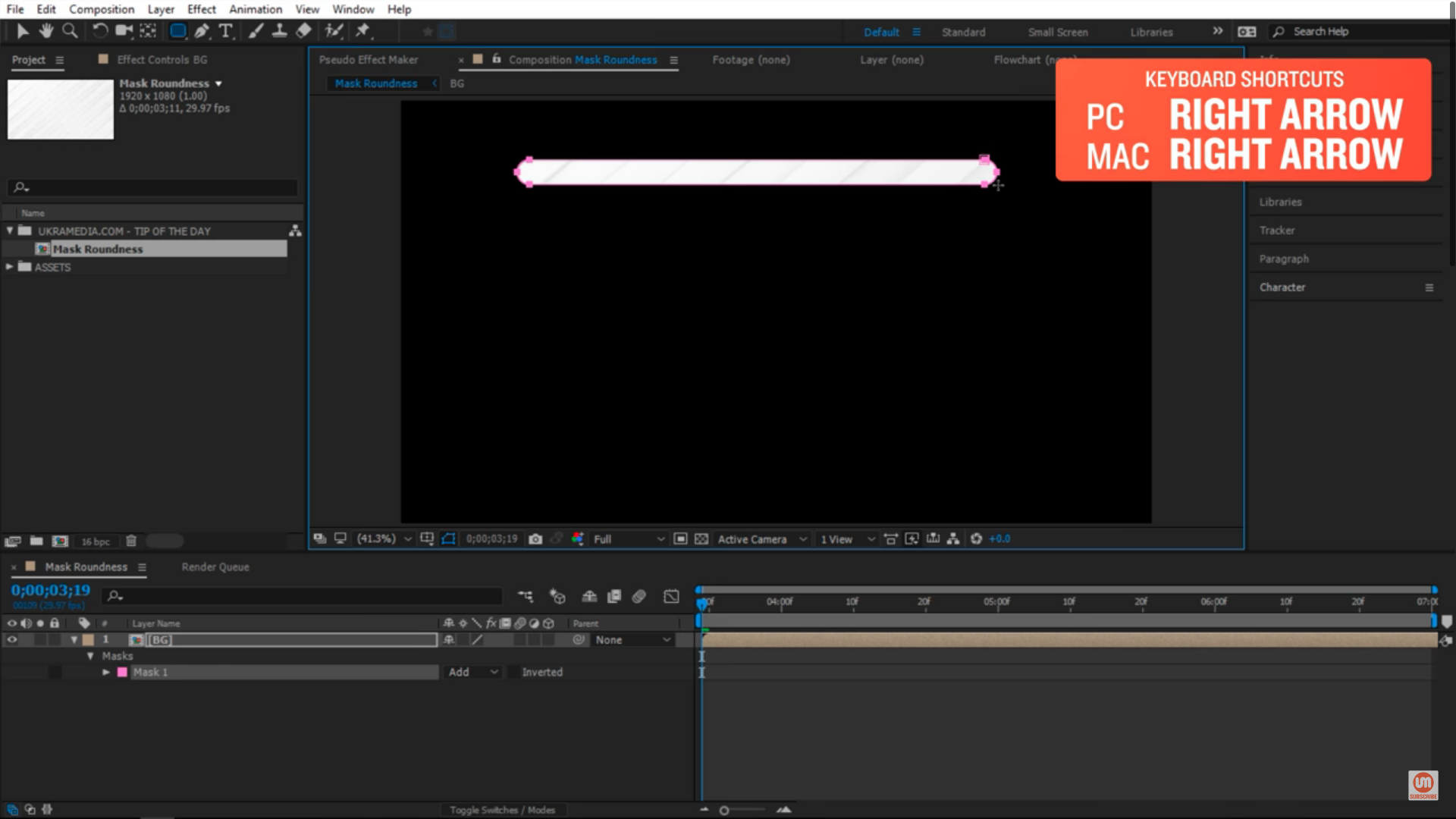 Set to a specific size with right arrow key in After Effects