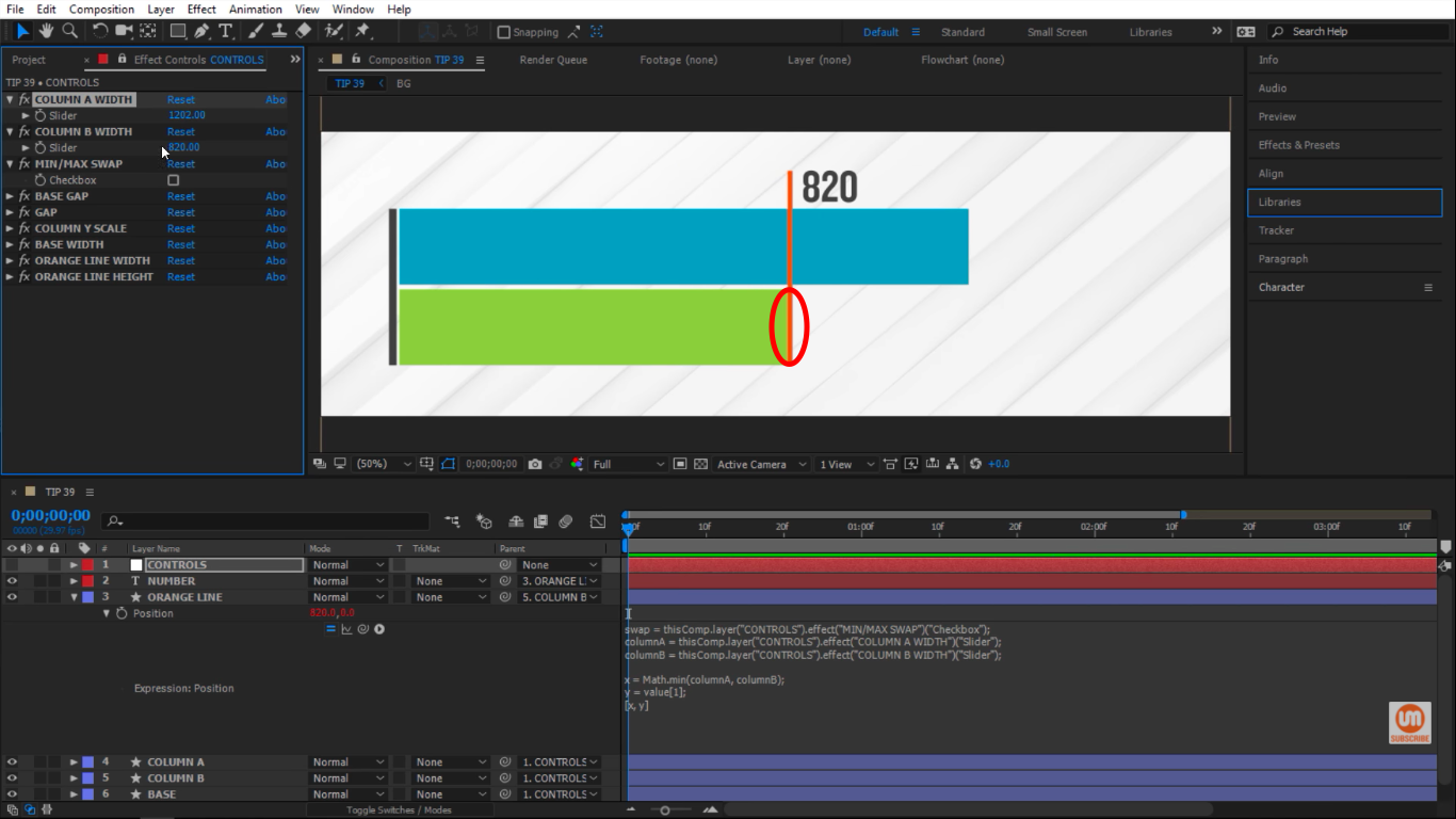 Snaps to minumum green column in After Effects