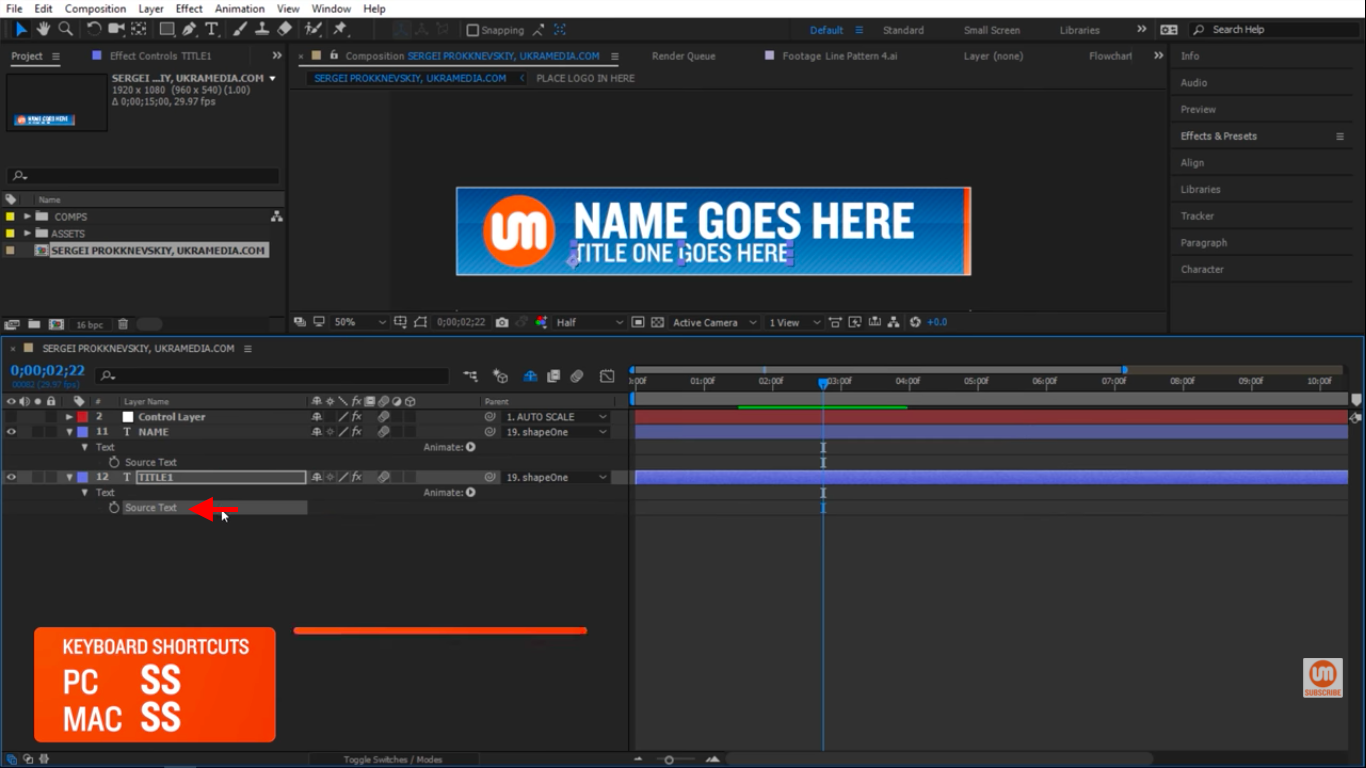 Solo Title Text Source in After Effects