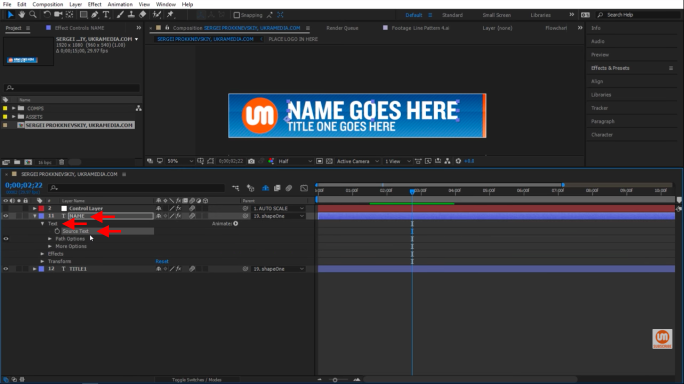 Source Text in After Effects