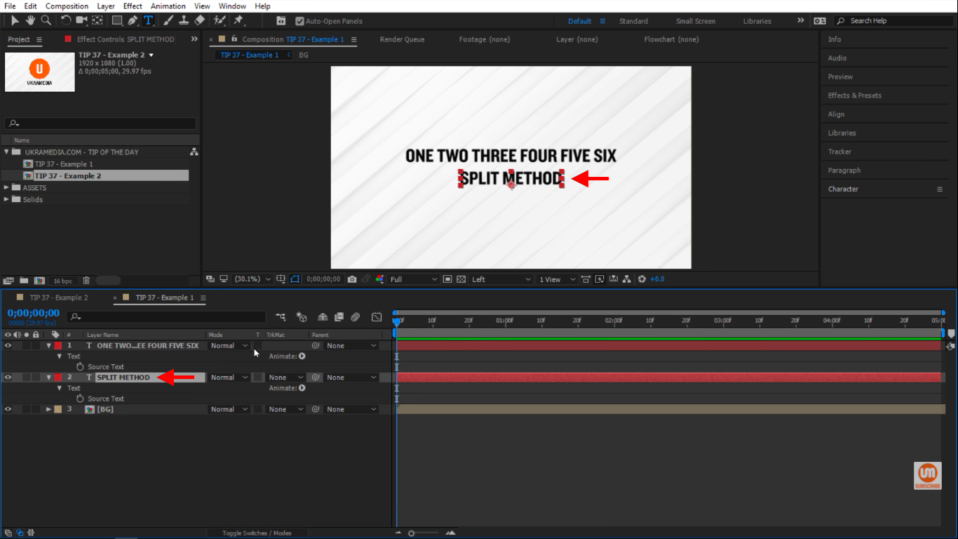 Split method text layer in After Effects