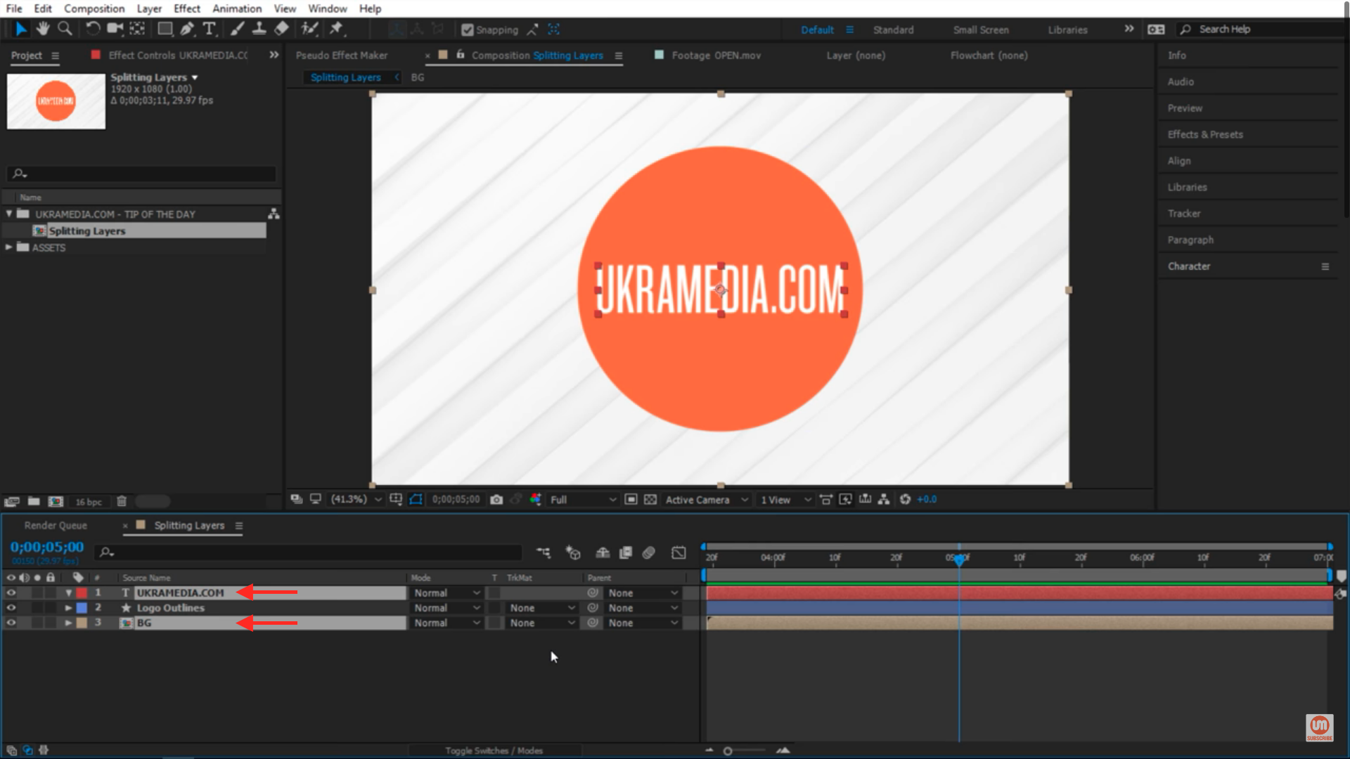Splitting multiple layers in After Effects