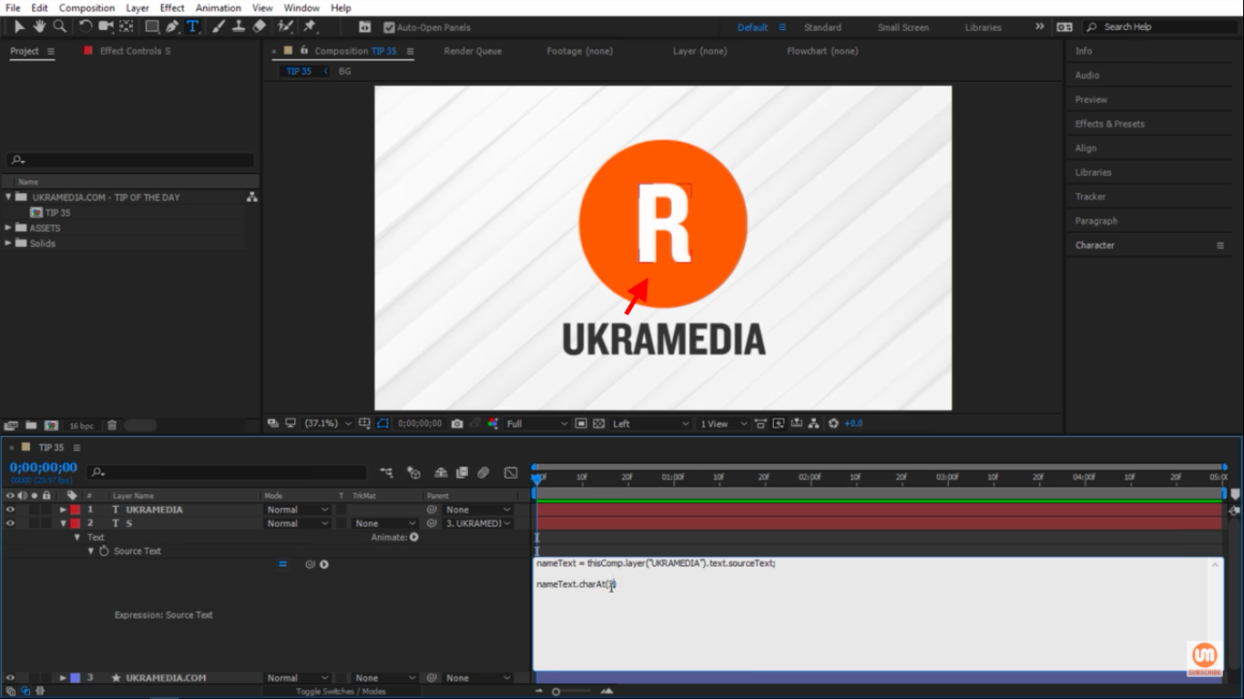 Switching to letter R in After Effects