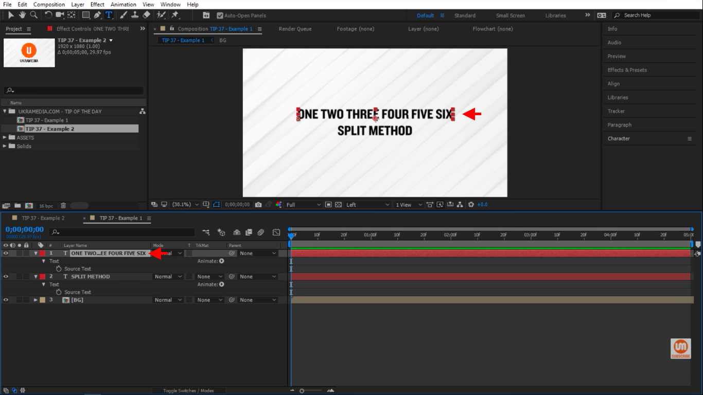 Text with a bunch of words in After Effects
