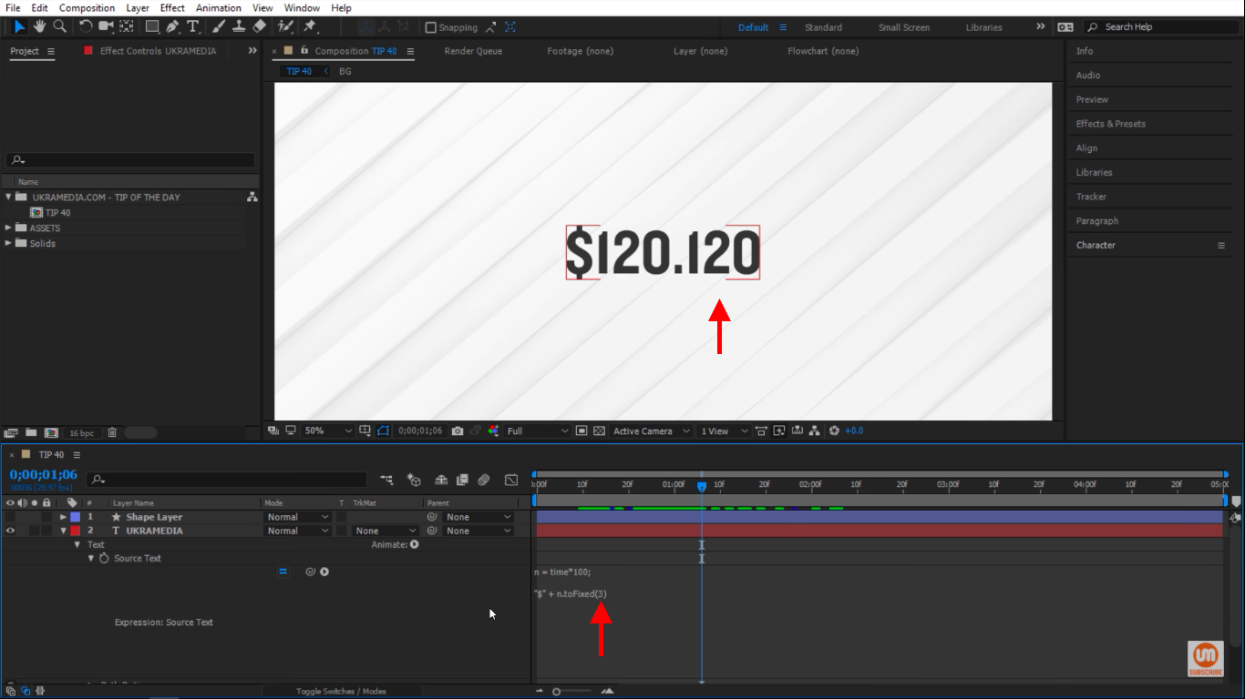 Three decimals in toFixed in After Effects