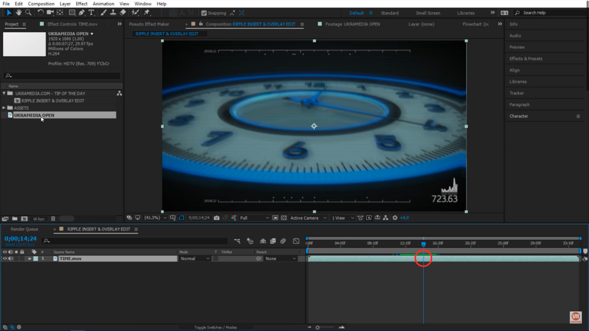 Time indicator location in After Effect for inserting footage