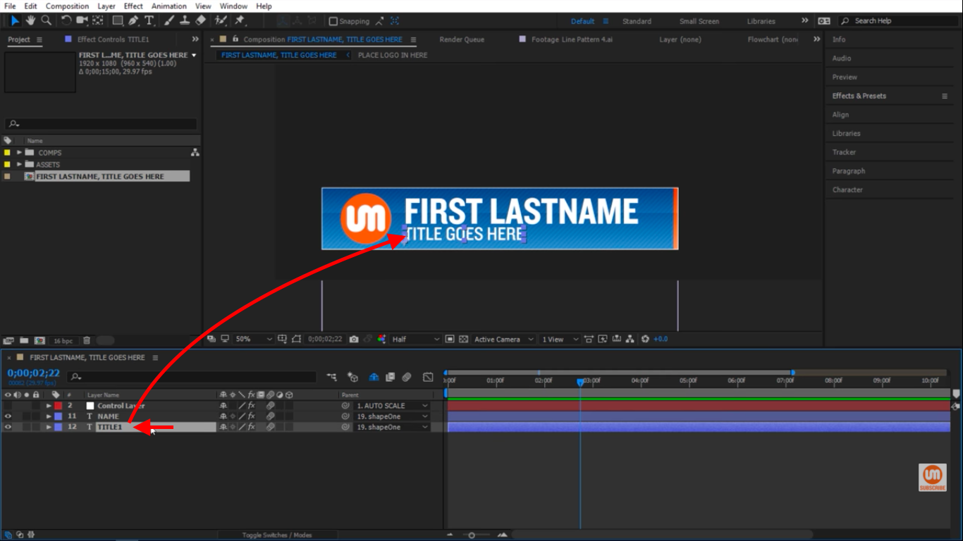Title Text in After Effects