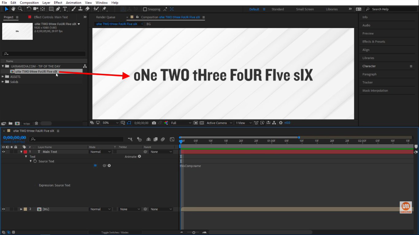 Title composition in After Effects