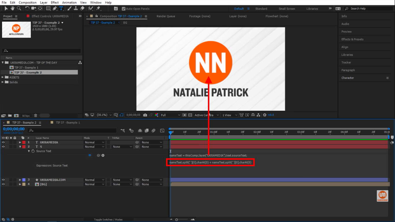 Two letters inside of the orange circle in After Effects