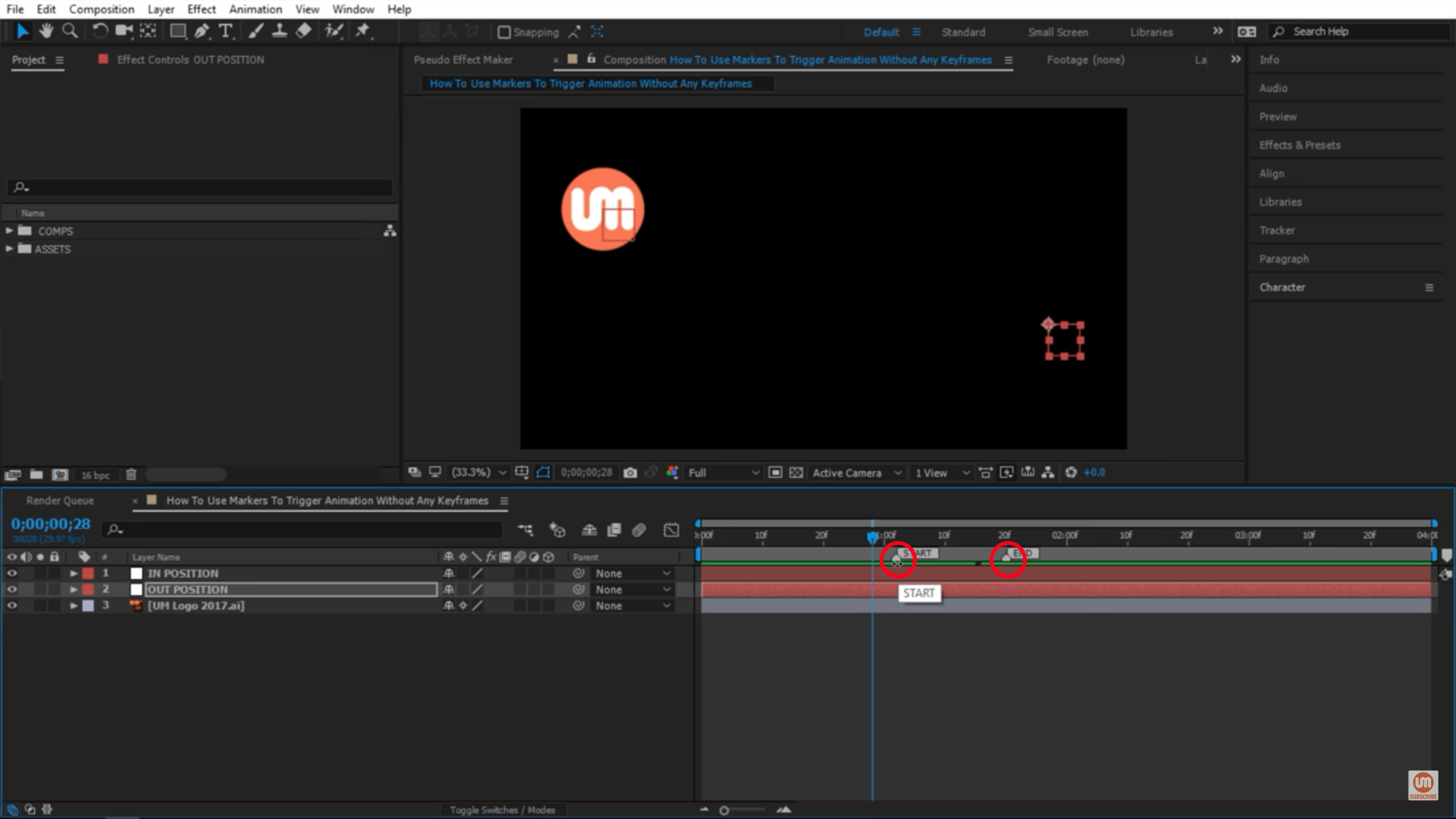 Two markers in After Effects timeline