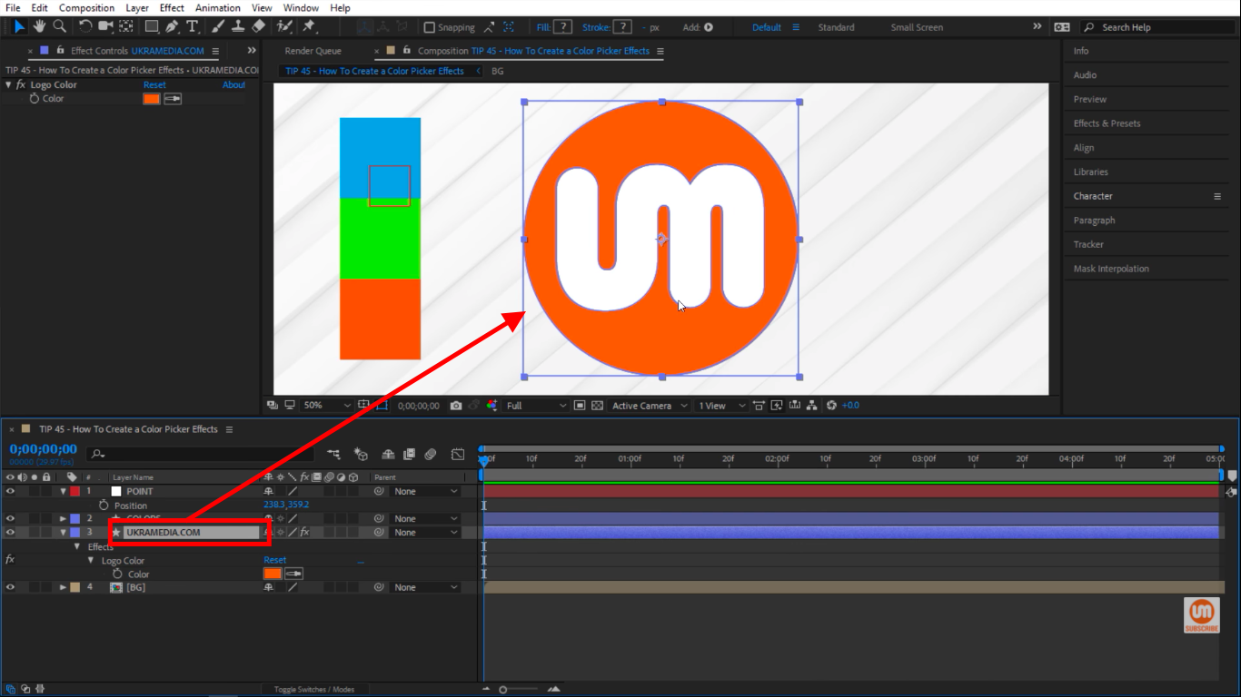 Ukramedia logo shape layer in After Effects