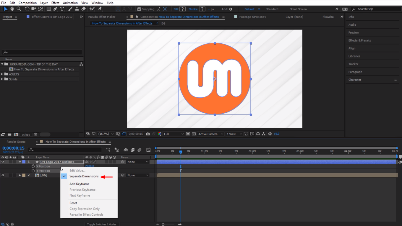 Undo separate dimensions in After Effects