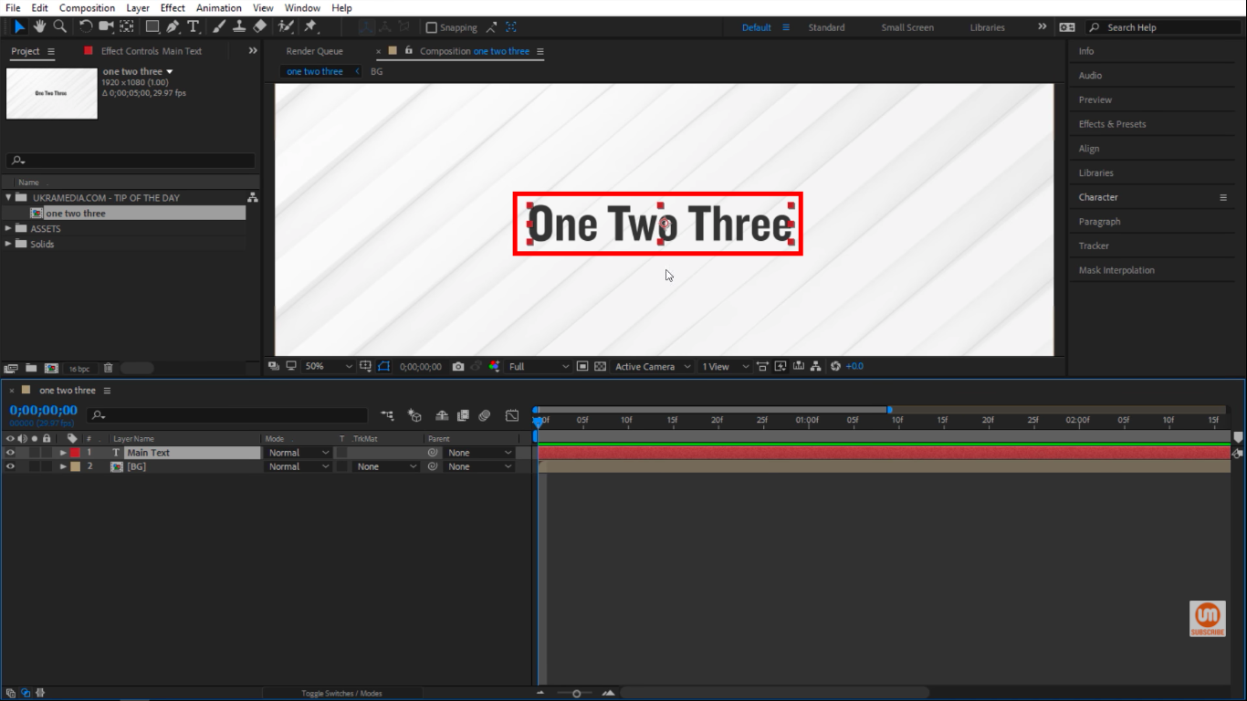 Upper and lower cased titles in After Effects