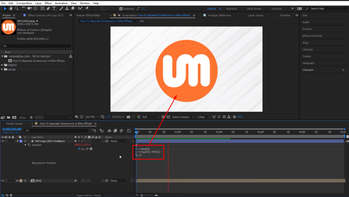 applied wiggle expression in After Effects