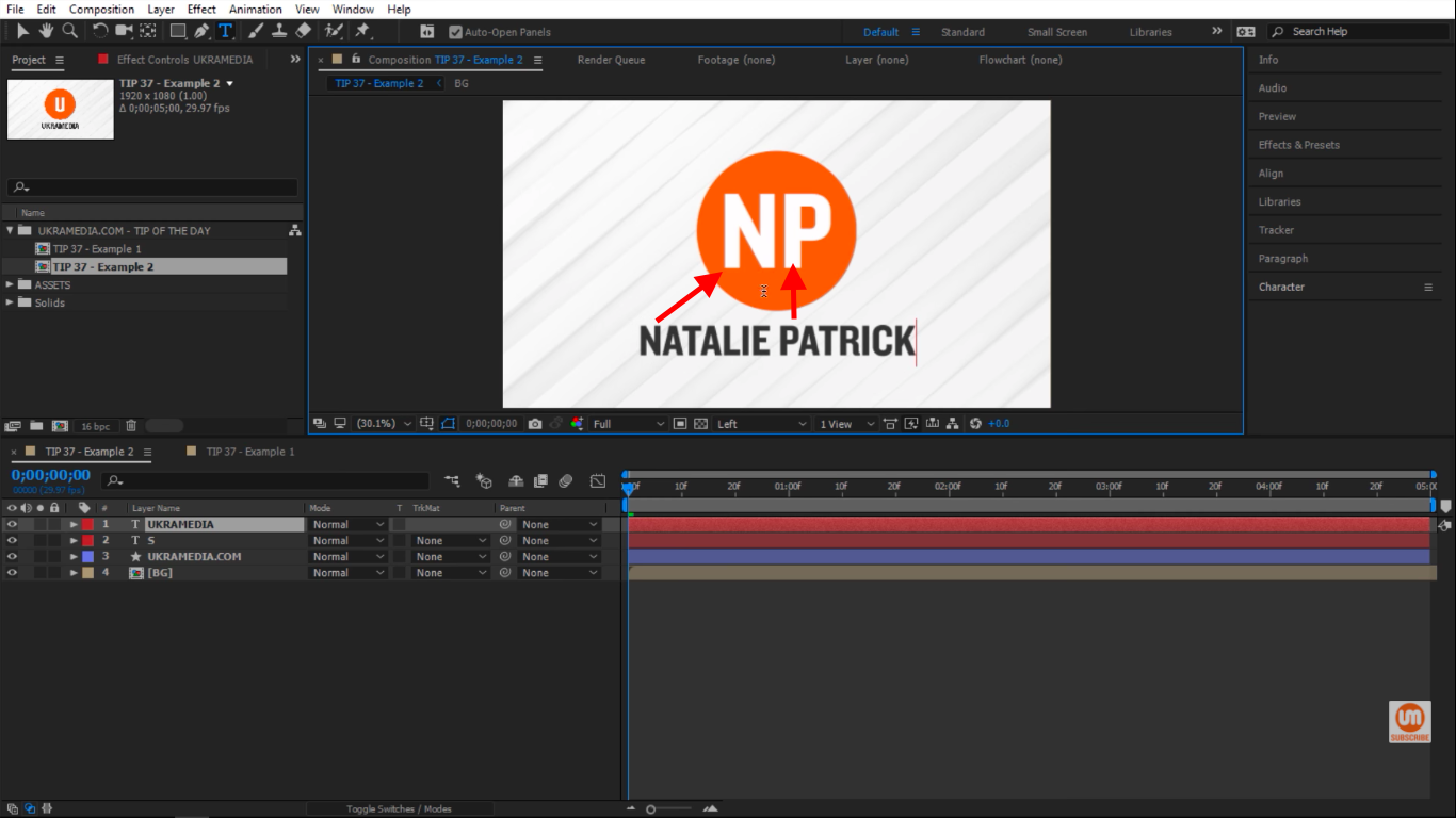 charAt Ukramedia with two words first letter grab in After Effects