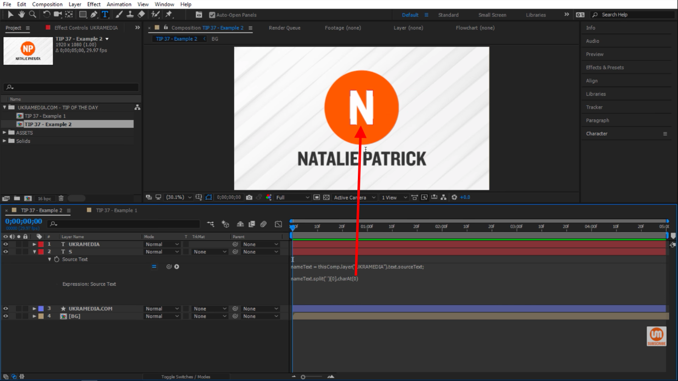 charAt(0) NATALIE in After Effects
