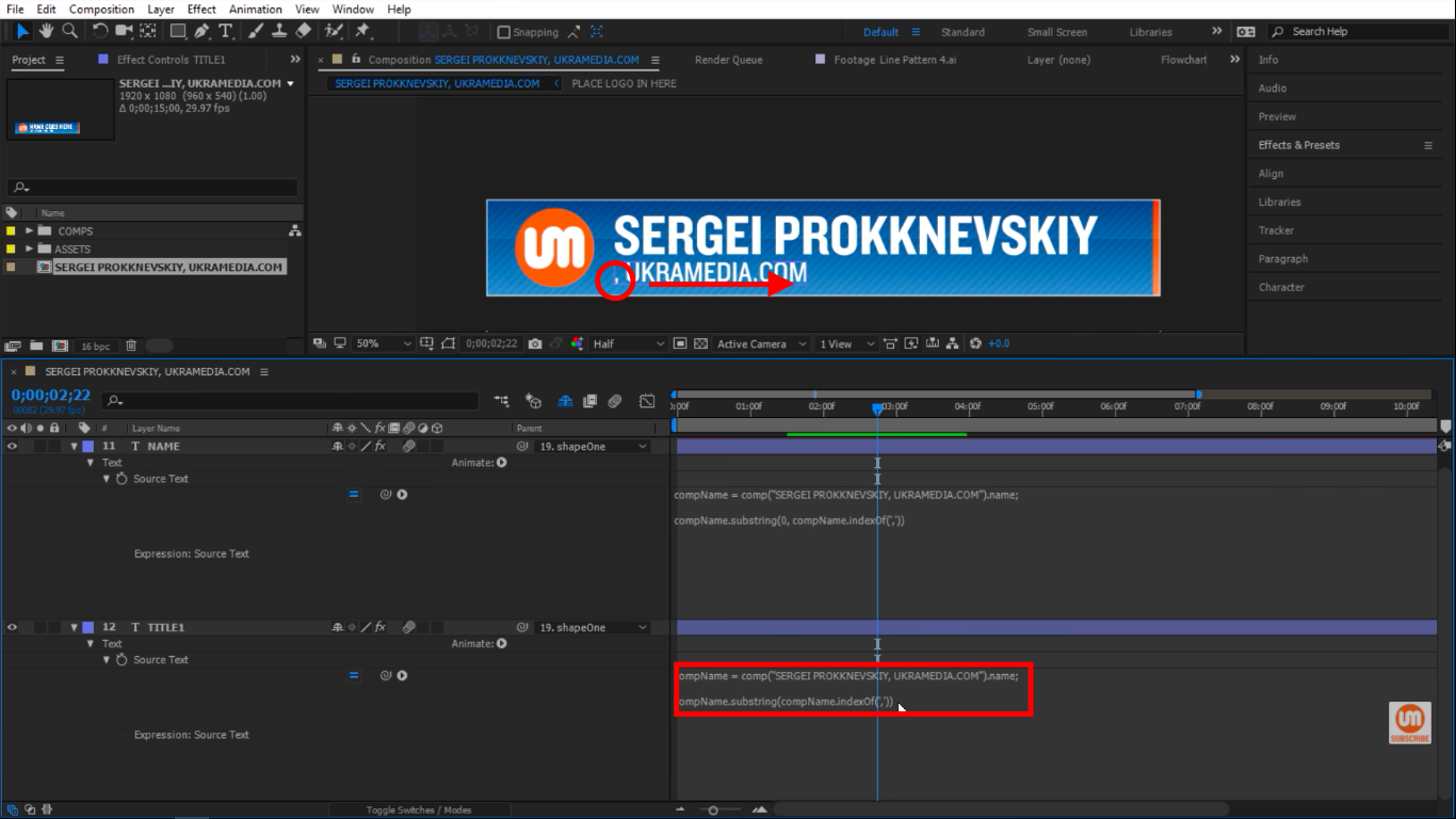 compName index in After Effects