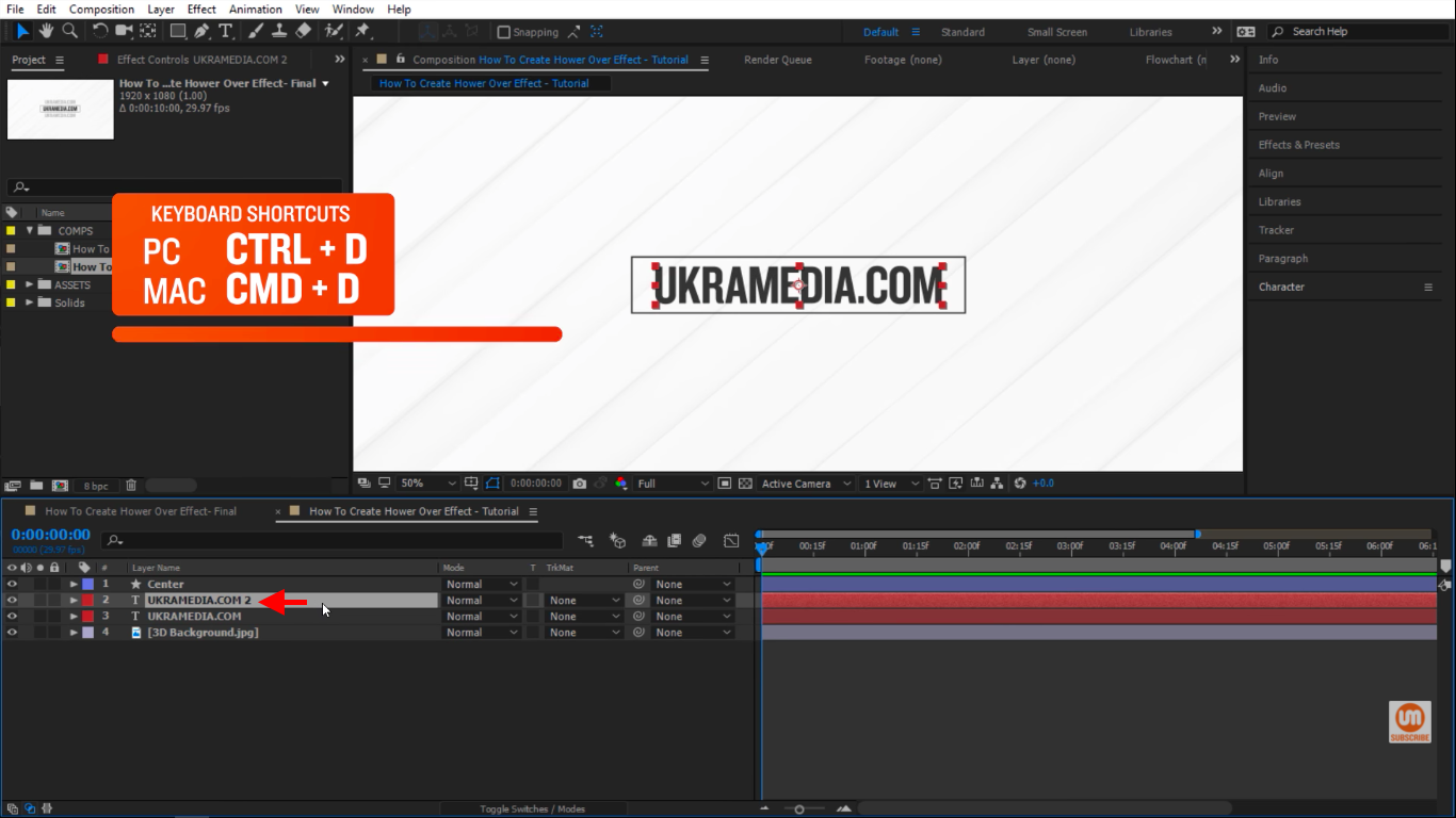 duplicate layer keyboard shorcut in After Effects