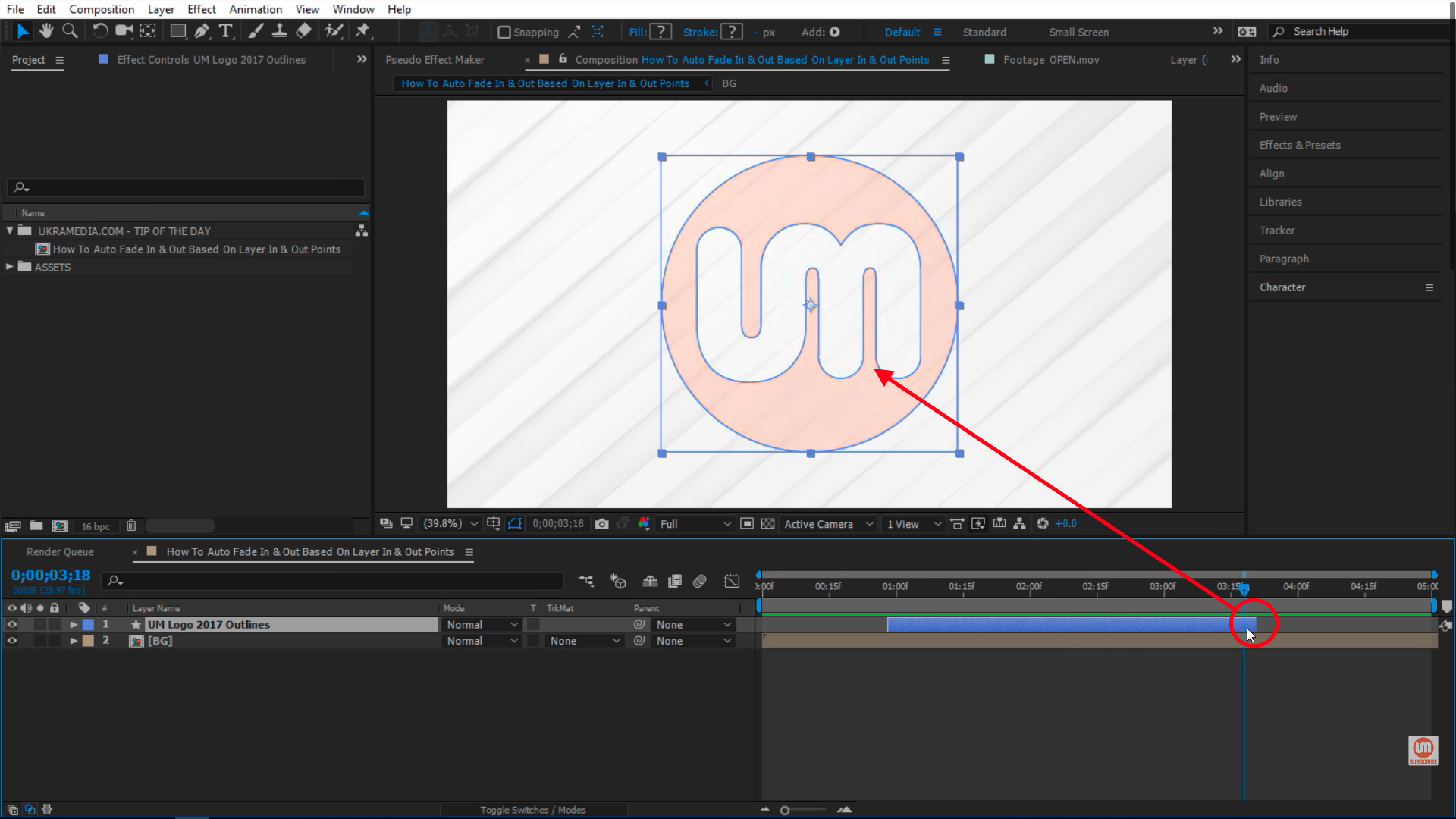 end point fade in After Effects