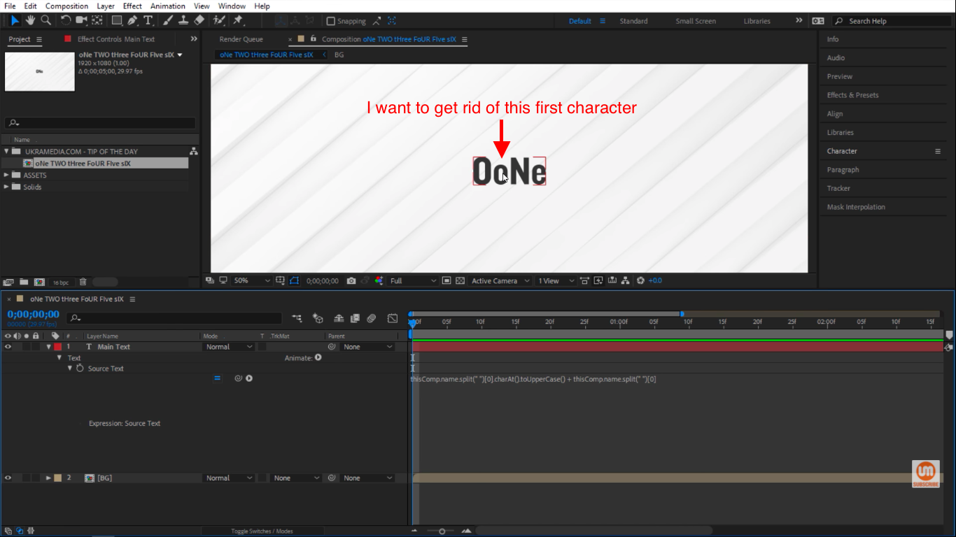 get rid of first character in After Effects