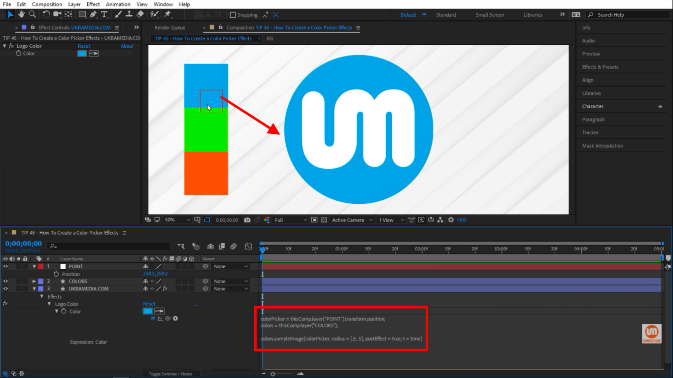 grabbing color from null in After Effects