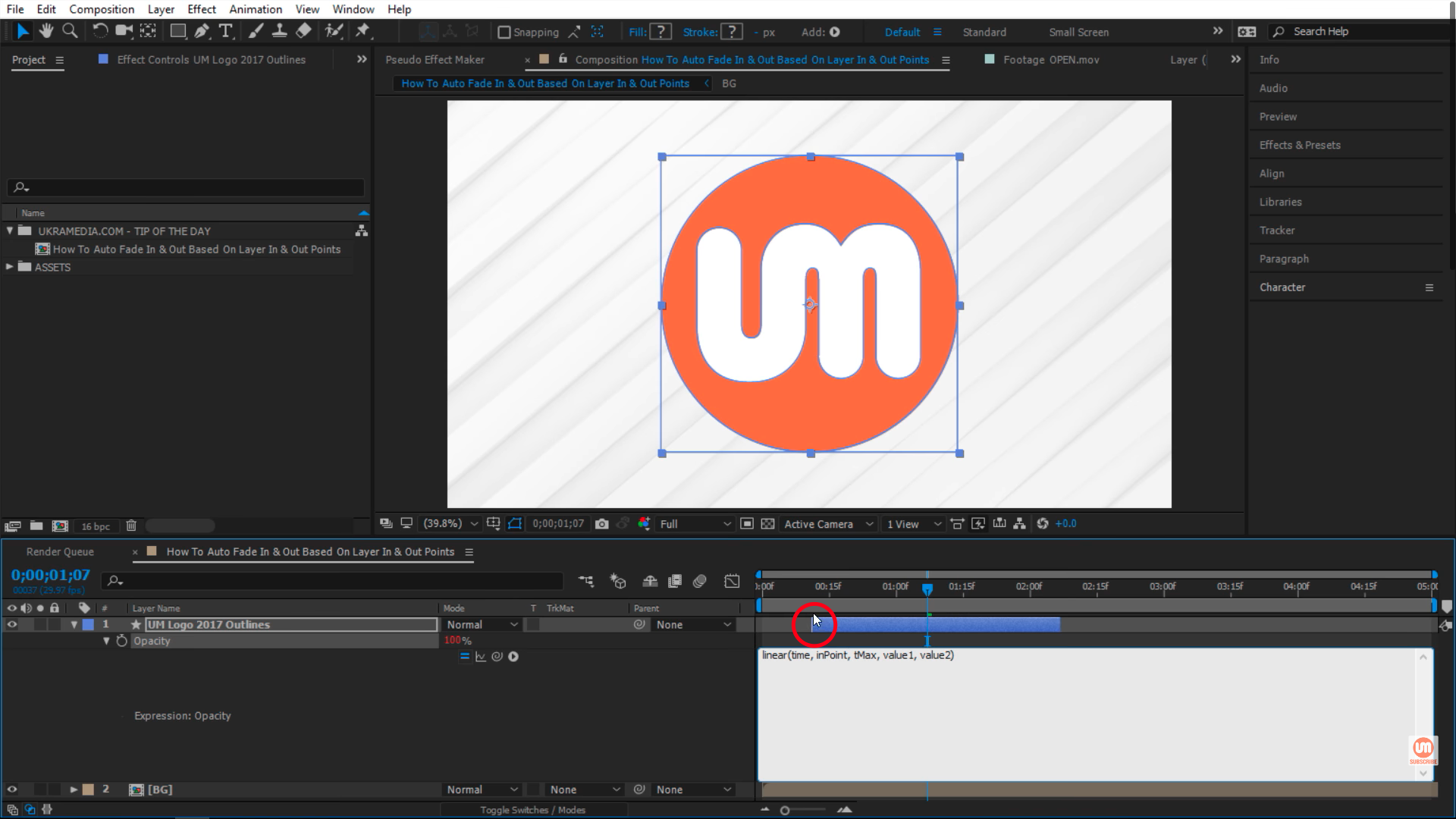 inPoint of my layer in After Effects