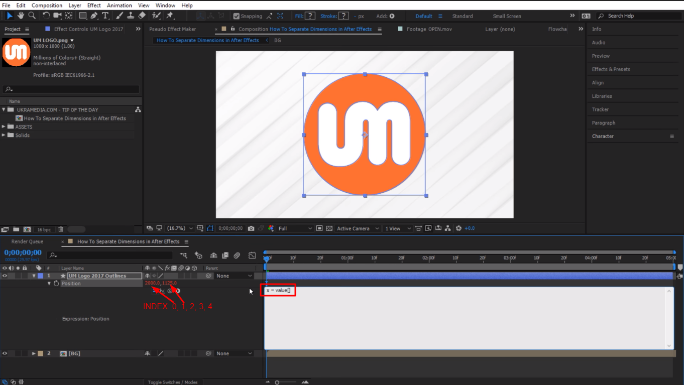 index count in After Effects