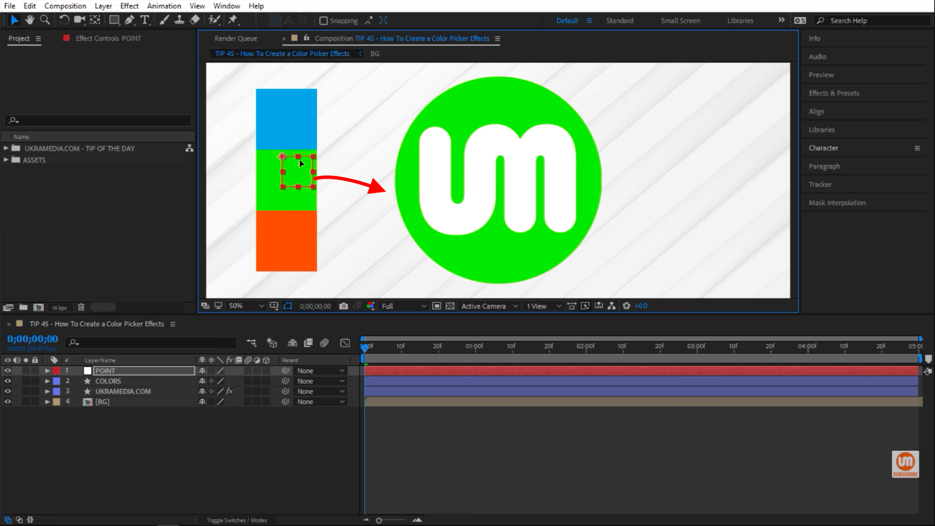 knoll hover over green color changing logo to green in After Effects