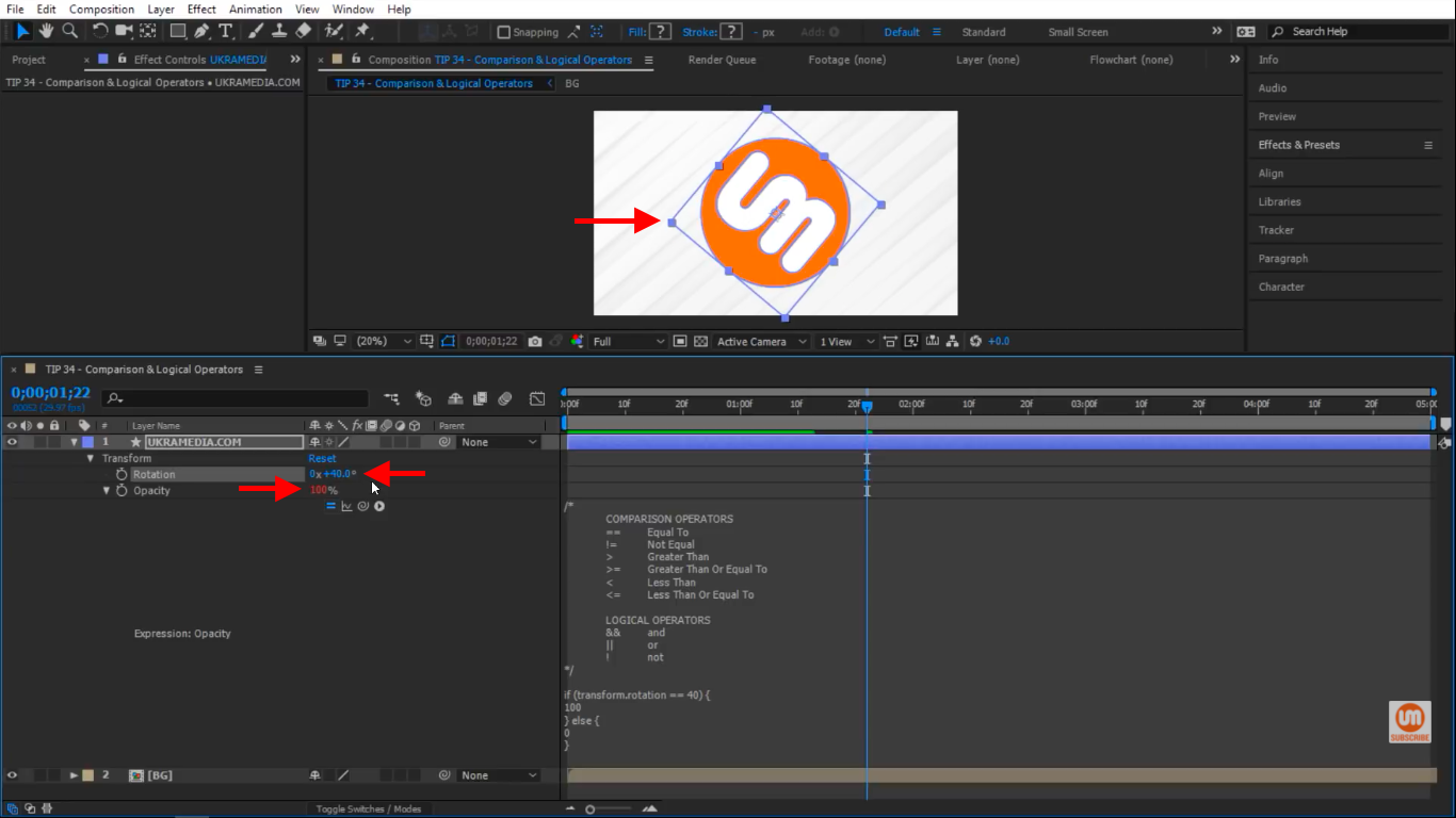 logo opacity set to 100 percent in After Effects