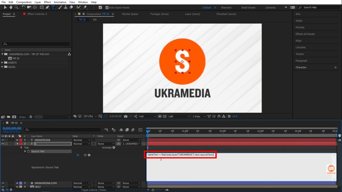 nameText = thisComp.layer(UKRAMEDIA).text.sourceText in After Effects