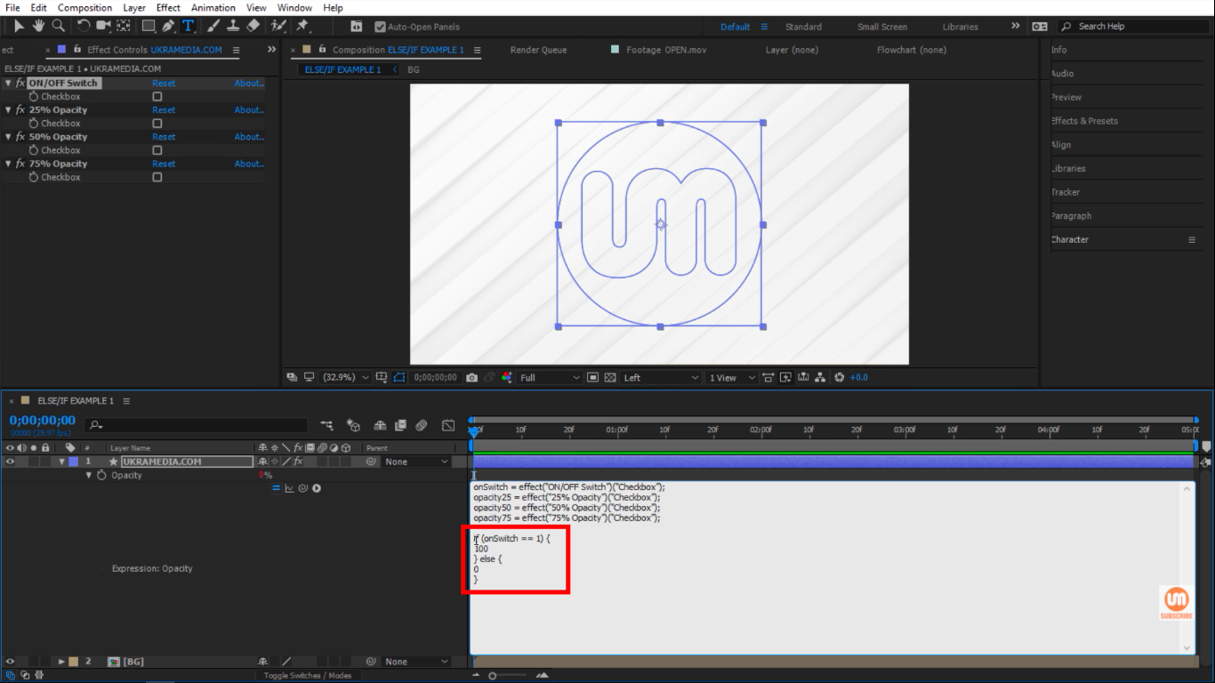 onSwitch 0 to 100 opacity in After Effects