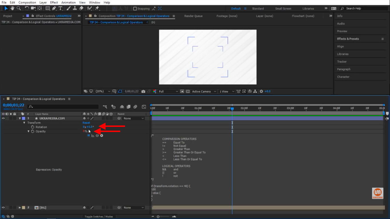 opacity and rotation zero percent After Effects
