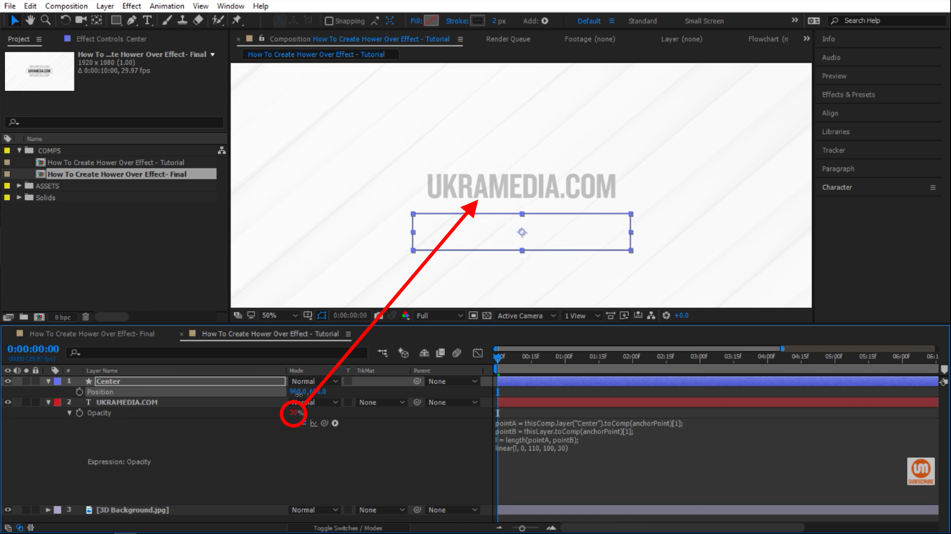 opacity change in After Effects