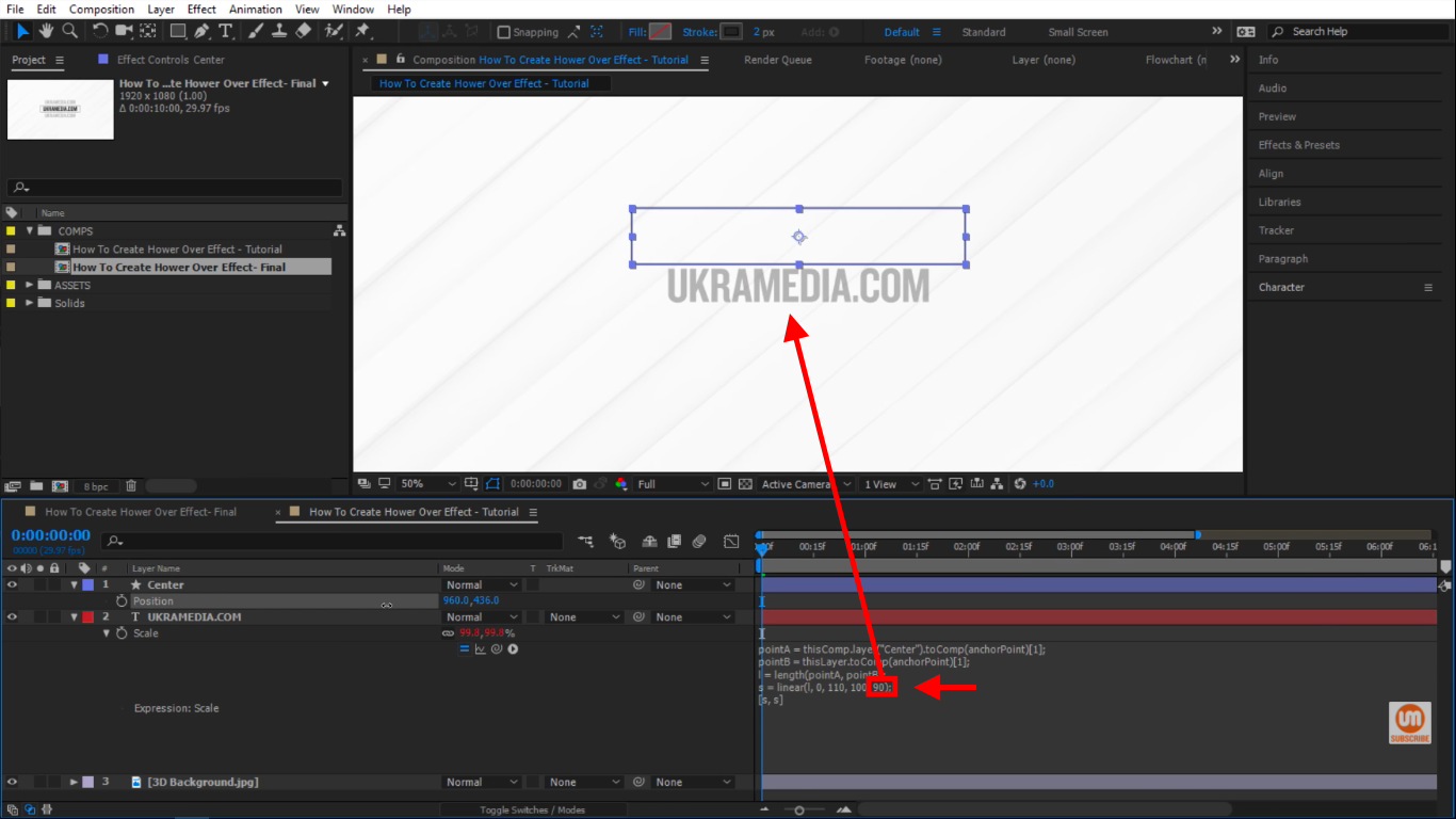 restrict to 90 scale after effects