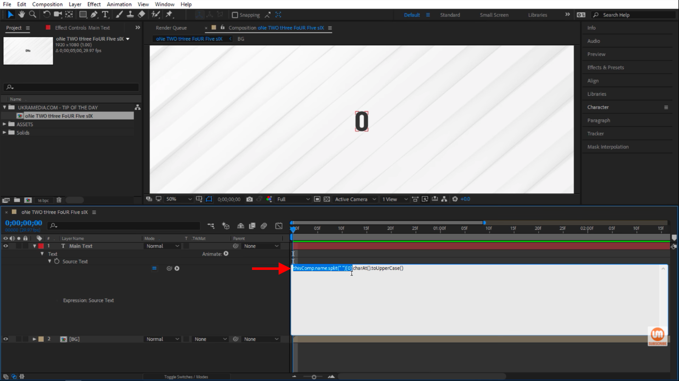 select thisComp.name.split( )[0] and copy it in After Effects